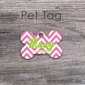 Personalized zig-zag pattern pink lime bone tag