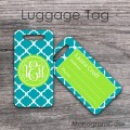 Turquoise clover pattern lime green label luggage tag