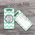 Mint charcoal gray design for monogrammed luggage tag
