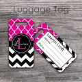 Hot pink moroccan and black chevron customized luggage tag