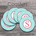 Coffee cup coasters best gift aquamarine pattern coral initial design