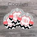 Customized coasters gray damask black chevron coral monogram
