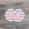 Cute pink elephant customized set of two coasters grey chevron