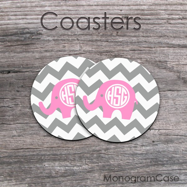 Cute pink elephant customized set of two coasters grey chevron