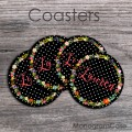 Floral customized coasters set of four polka dots design