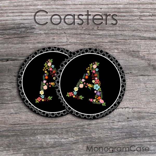 Floral letters black design set of two coasters