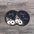 Fresh design coffee coasters set of two newlywed gift