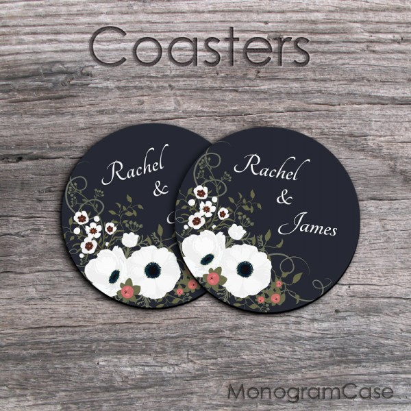 Fresh design coffee coasters set of two newlywed gift