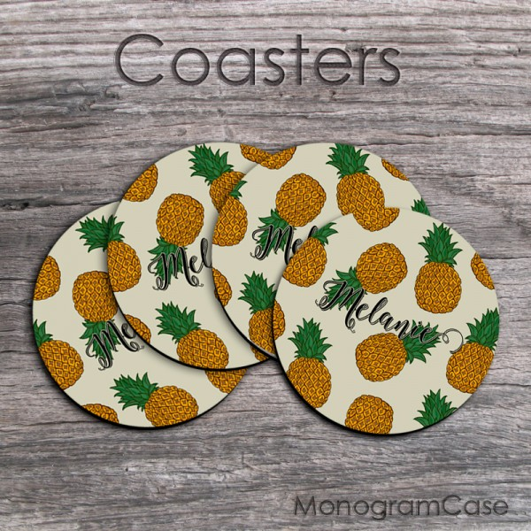 cute pineapples pattern coffee coasters set of four