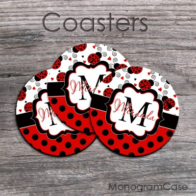 Ladybugs hearts polkadots design coffee coasters black and red