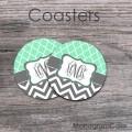 Mint trellis pattern charcoal chevron coasters personalized