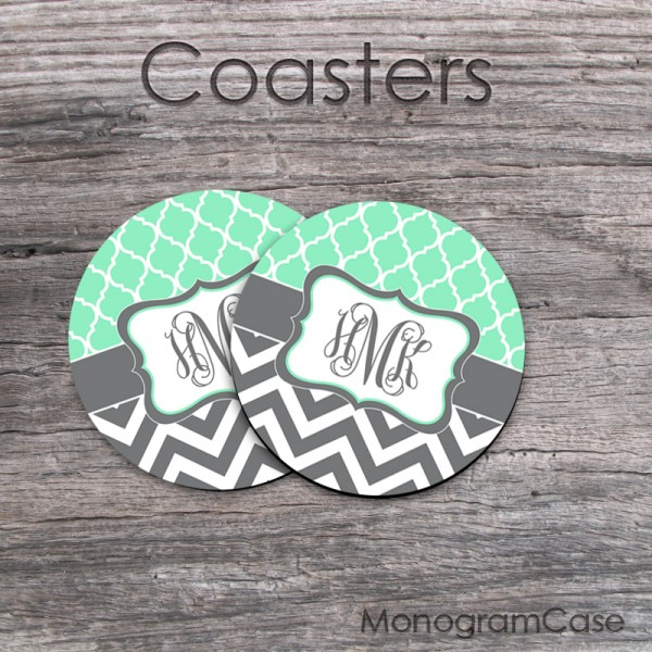 Mint trellis pattern charcoal chevron coasters personalized