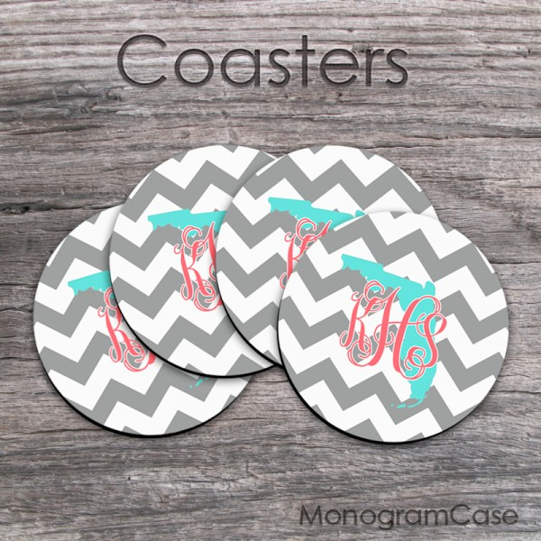 Personalized state coaster gift grey chevron coral monogram set of four