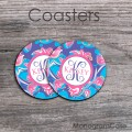 Pink tulips blue background customized coasters set