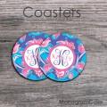 Pink tulips blue background customized coasters set