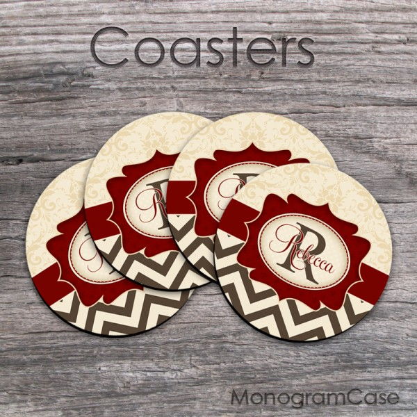 Set of four monogram rubber coasters beige damask brown chevron maroon label