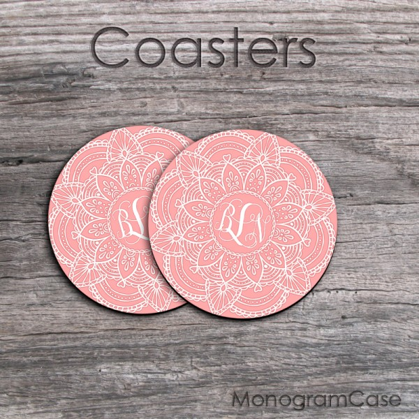 Set of two coffee coasters mandala print blush pink white design