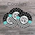 Stilysh black white monogrammed coasters aquamarine ribbon