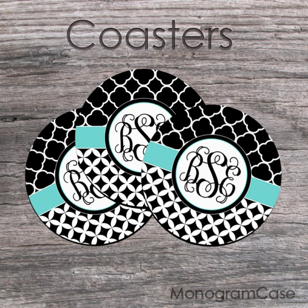 Stilysh black white monogrammed coasters aquamarine ribbon