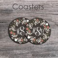 Wreath of flowers design set of two monogrammed coasters