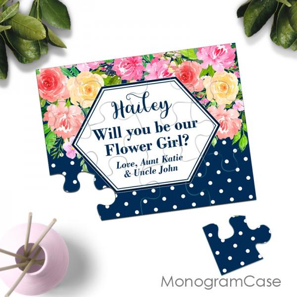 Asking flower girl greeting puzzle invitation card - wedding stationery