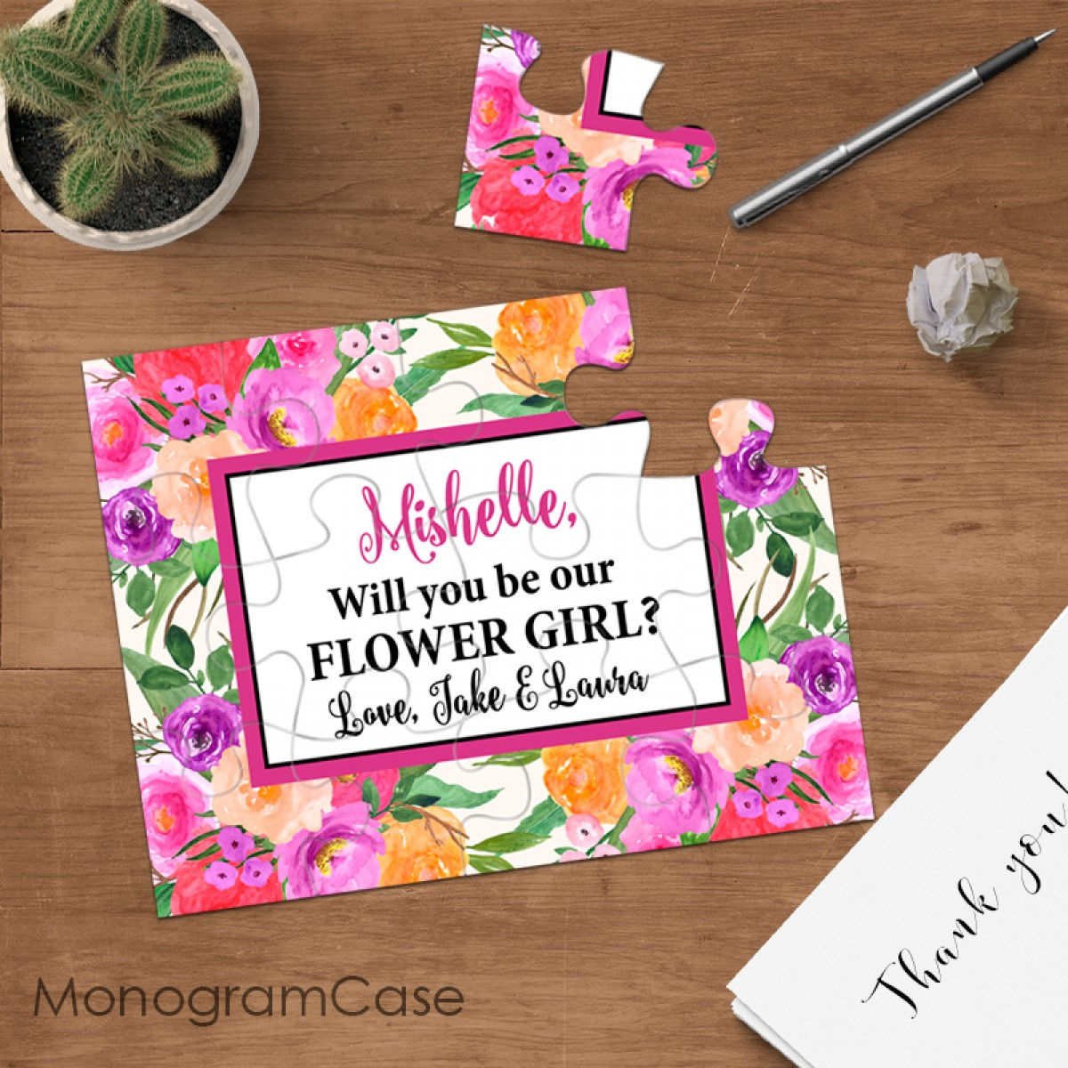 asking flower girl proposal wedding puzzle invitation