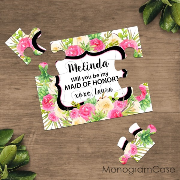 Be my maid of honor floral puzzle cards