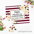 Burgundy floral wedding invitation for flower girls