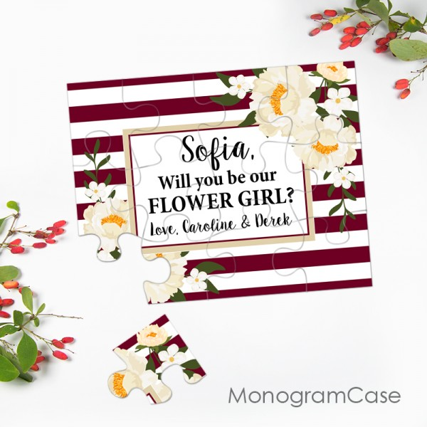 Burgundy floral wedding invitation for flower girls