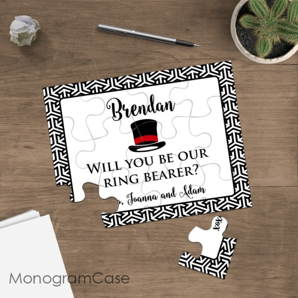 Elegant stylish - Will you be our ring bearer invitation puzzle cart