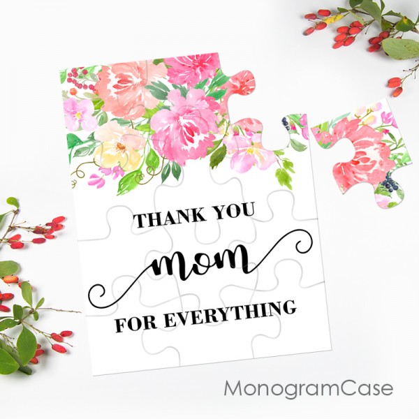 Floral mothers day puzzle card with message