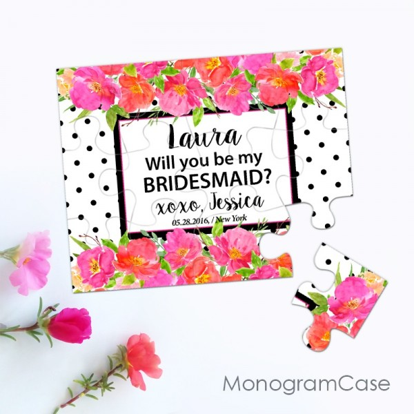Floral wedding proposal puzzle invitation |  MonogramCase