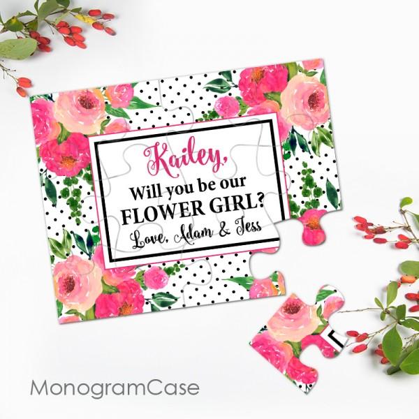 Flower girl puzzle proposal wedding invitation