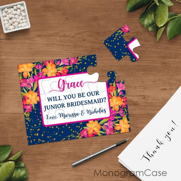 Junior bridesmaid puzzle gift wedding invitation