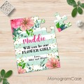 Mint flower girl wedding puzzle invite