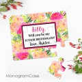 Pretty watercolor flowers puzzle Invitation to asking junior bridesmaid