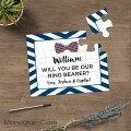 Personalised ring bearer gift puzzle with bow tie
