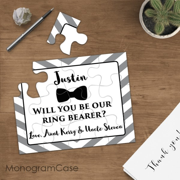Asking For Gifts On Wedding Invitations: Ring Bearer Gift Puzzle Invitation Wedding Proposal