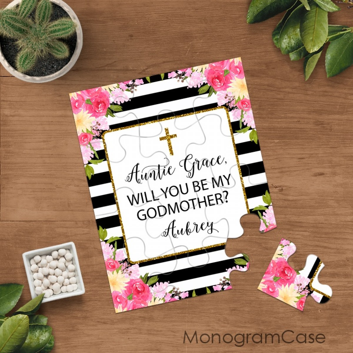 Will you be my godmother christening puzzle card new thank you for being my godmother christening puzzle m4hsunfo