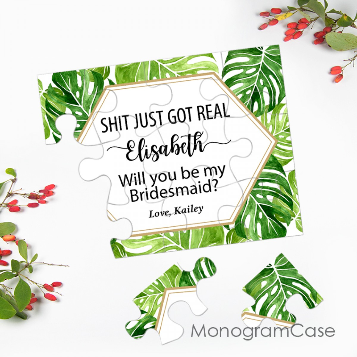 Greenery Tropical Leaves On Bridesmaid Puzzle Invitation Let's get this thing started, the first thing you will need to do is crafting your invitation, but before as i have mentioned, you can go for these gorgeous gold frame and tropical leaves and you can get. tropical leaves asking bridesmaid puzzle invitation