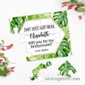 Tropical leaves asking bridesmaid puzzle Invitation