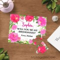 Will you be my Bridesmaid peonies puzzle cards