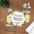 Will you be my bridesmaid puzzle surprised proposal card
