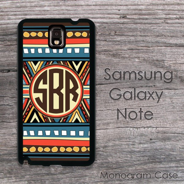 Boho aztec colorful indian pattern monogramed case