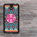 Boho chic african print monogrammed Galaxy Note case