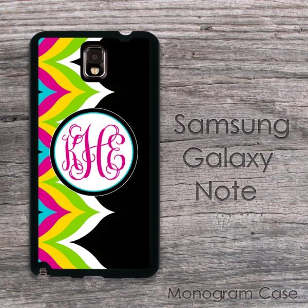 Boho chic chevron hot pink monogram design Samsung galaxy Note case