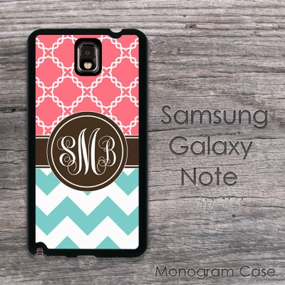 Aquamarine and coral set monogrammed Galaxy note case
