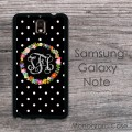 Floral wreath polkadots solid black hard case Samsung Galaxy