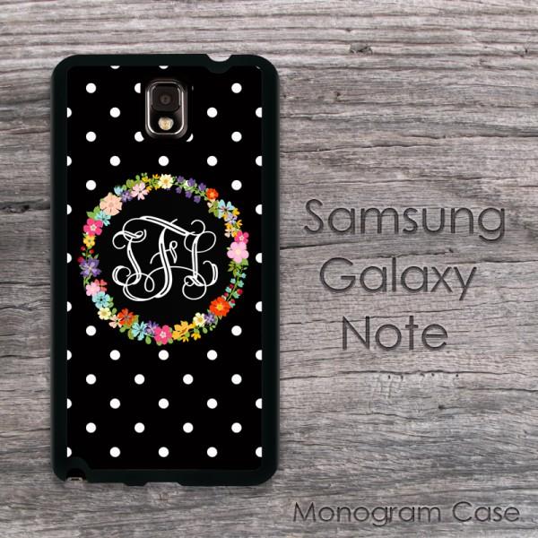Floral wreath polkadots solid black hard case Samsung Galaxy