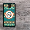 Indian aztec fresh teal design Samsung galaxy note case